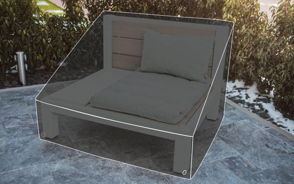 Regenabdeckung für einen Loungesessel aus Massivholz