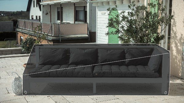 Regencover für eine Viererbank aus Massivholz