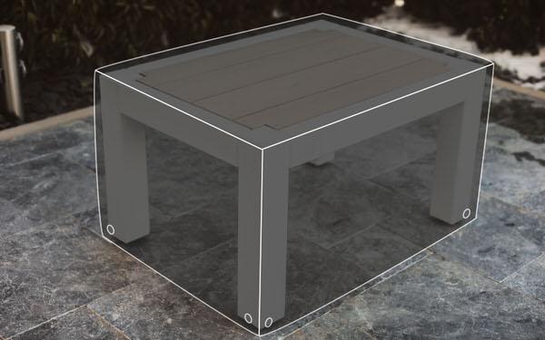 Regenabdeckung für einen Loungetisch aus Masssivholz